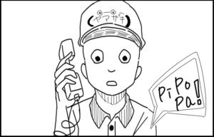 ピザ屋 出前 注文 ギャグ 4コマ イラスト マンガ 4コマ漫画 電話