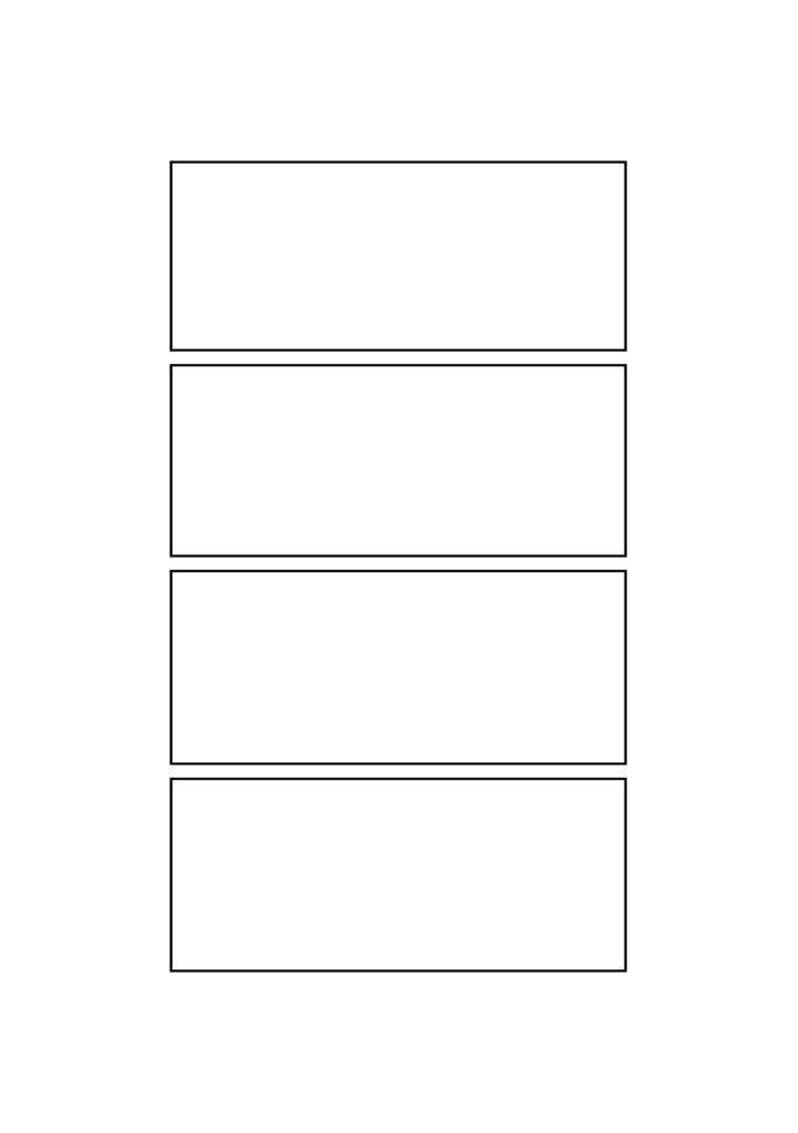 4コマ漫画 マンガ テンプレート 素材 データ A4・A5・B4・B5 タイトル中央