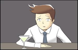 バー バーテンダー カクテル 誰だ シェーカー 4コママンガ 4コマ漫画 イラスト マンガ