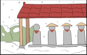 笠 雪 地蔵 4コママンガ 4コマ漫画 イラスト マンガ